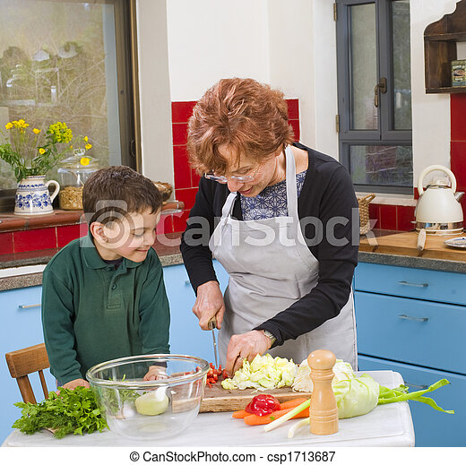 grandmother and grandchild cooking - csp1713687