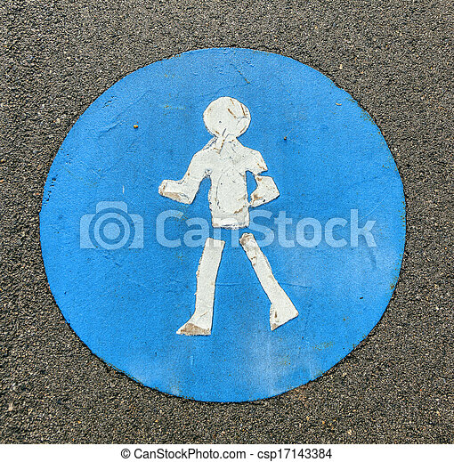 symbol for pathway and icon for pedestrians - csp17143384