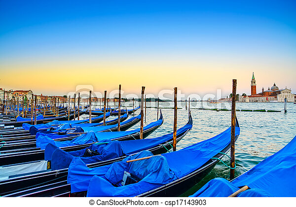 Venice, gondolas or gondole on a blue sunset twilight and San Giorgio Maggiore church landmark on background. Italy, Europe. - csp17143903