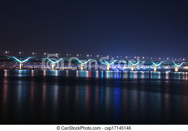 Night view of the Han River bridges in Seoul in South Korea - csp17145146