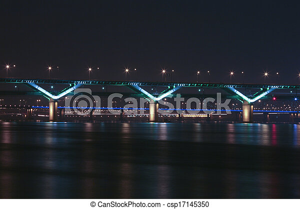 Night view of the Han River bridges in Seoul in South Korea - csp17145350