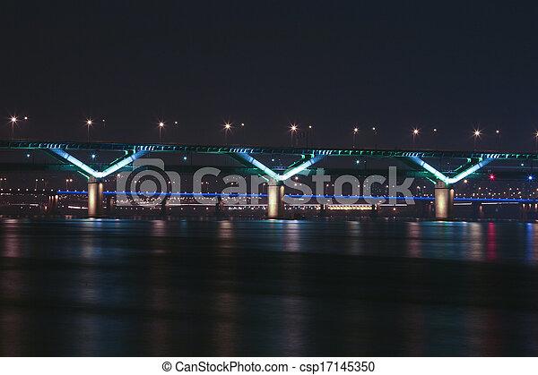 Night view of the Han River bridges in Seoul in South Korea - csp17145350
