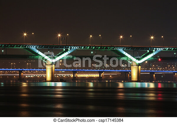 Night view of the Han River bridges in Seoul in South Korea - csp17145384