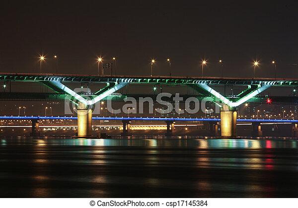 Night view of the Han River bridges in Seoul in South Korea - csp17145384