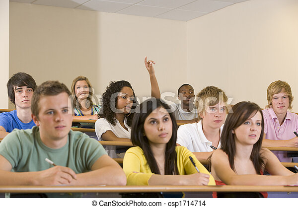 Stock Photo of Students in class paying attention and ...