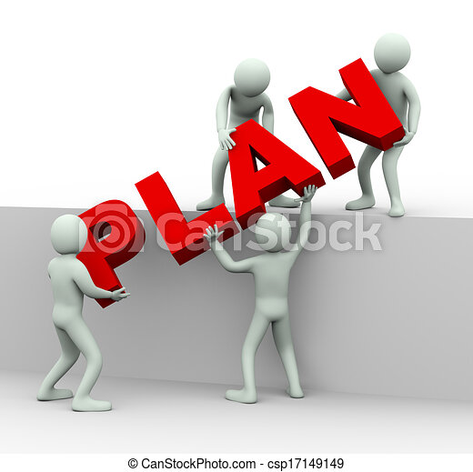 3d people working together to place word plan - csp17149149