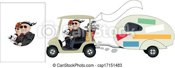 Senior Golf Cartoons Senior Cartoon Golf Cart