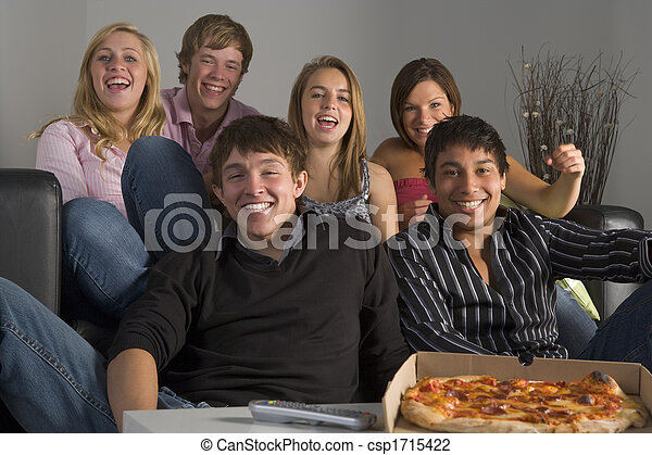 Teenagers Having Fun And Eating Pizza - csp1715422
