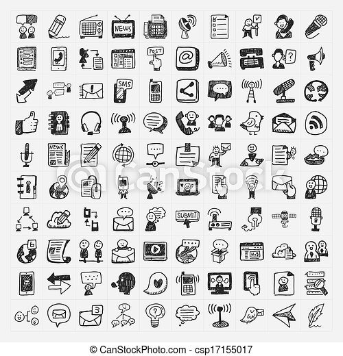 doodle communication icons set - csp17155017