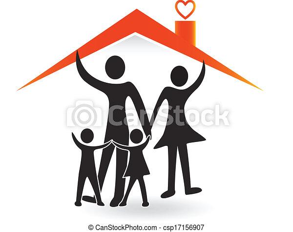 vector clip art de casa amor familia logotipo familia y casa de amor csp17156907. Black Bedroom Furniture Sets. Home Design Ideas