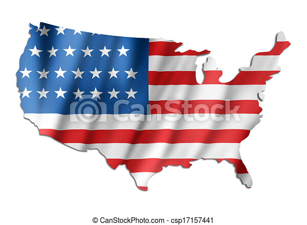 American flag on a USA map - csp17157441