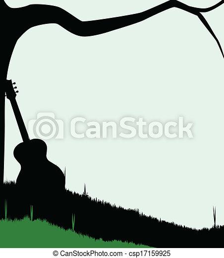Guitar Tree Drawing Guitar And Tree Csp17159925