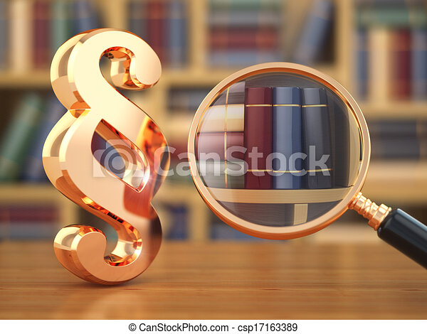 Law concept.  Paragraph, loupe and books. - csp17163389