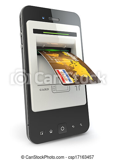 Mobile banking. Mobile phone as atm and credit card. - csp17163457