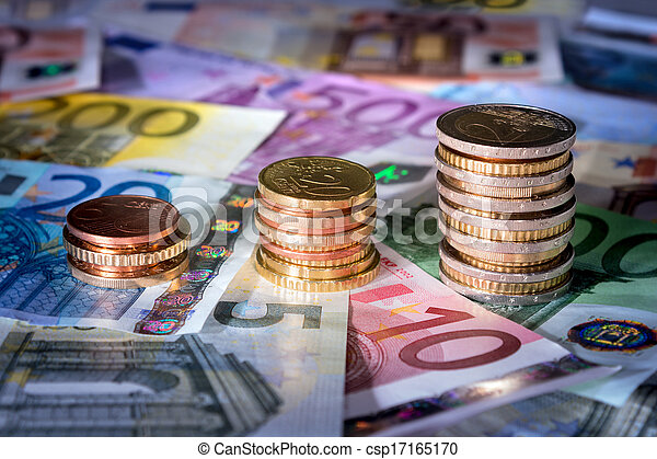 coins chart on euro banknotes%uFFFC%uFFFC - csp17165170