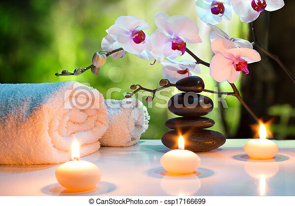 massage composition spa with candle - csp17166699
