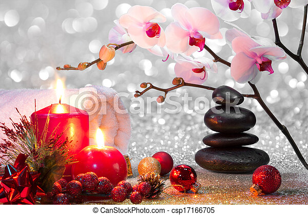 massage composition christmas spa - csp17166705