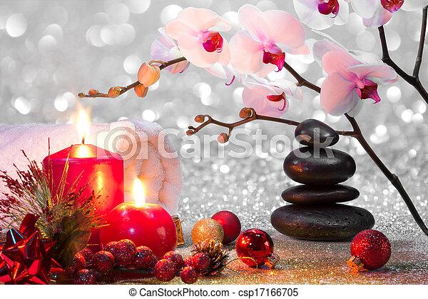 massage composition christmas spa  - csp17166705