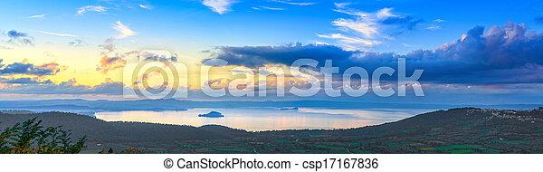 Bolsena lake aerial panoramic view from Montefiascone, Italy. - csp17167836