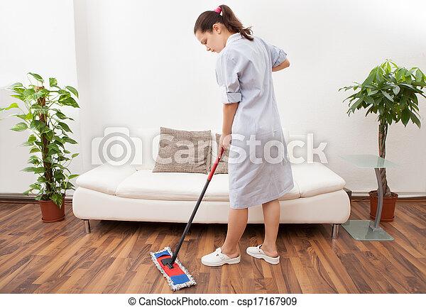 Stock fotografie von junger m dchen putzen boden for Boden putzen