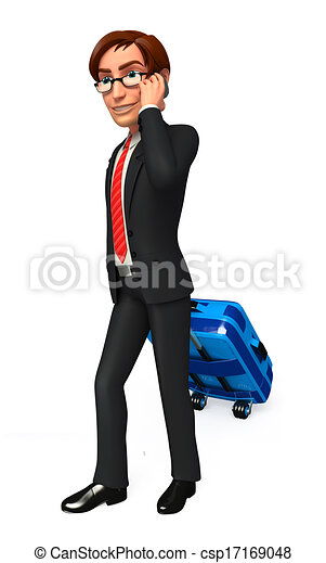 Business man with traveling bag - csp17169048