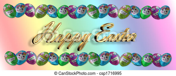Stock Illustrations of Easter Candy Border Chocolates - Foil ...