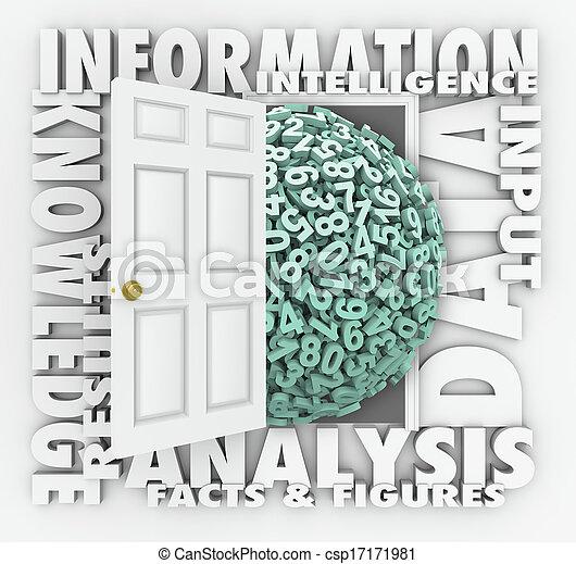 informationen, tür, forschung, figuren, zahlen, datenwiedergewinnung - csp17171981