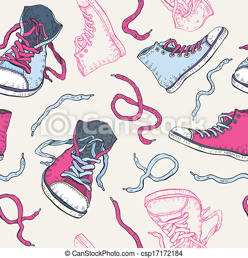 Vector sneakers shoes seamless pattern stock illustration