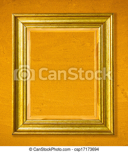Wooden golden picture frame on cement