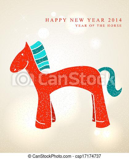 Chinese New Year 2014 Cute cartoon horse - csp17174737