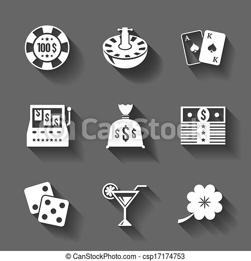 Gambling icons set isolated, contrast shadows - csp17174753
