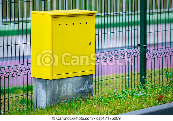 Yellow electric box panel outdoor