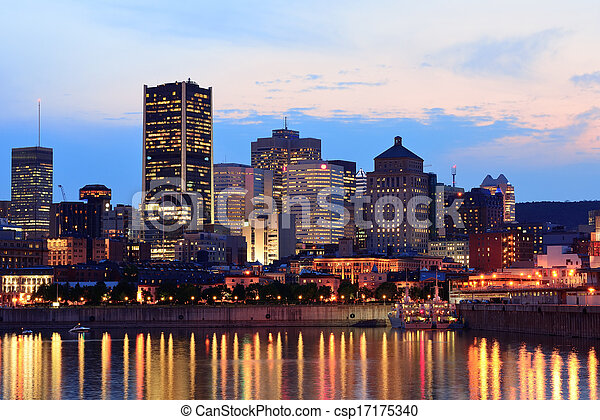 Montreal over river at sunset - csp17175340
