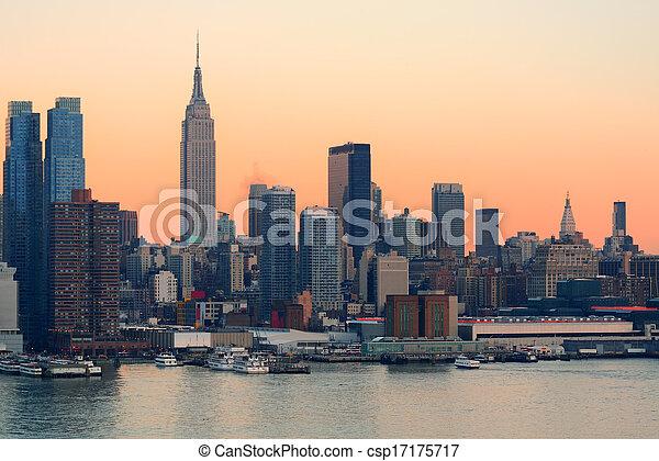 New York City sunset - csp17175717