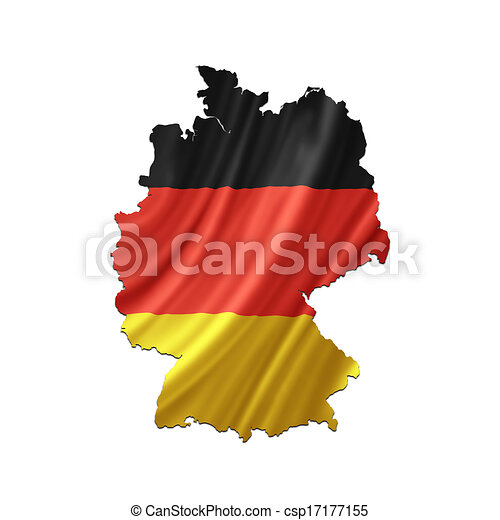 Map of Germany with waving flag - csp17177155