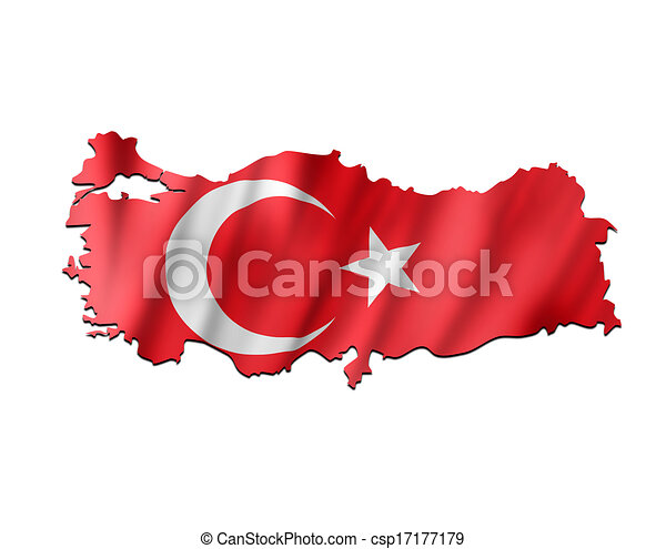 Map of Turkey with waving flag - csp17177179