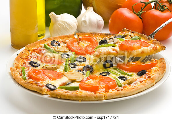 homemade pizza with fresh tomato olive mushroom cheese  - csp1717724