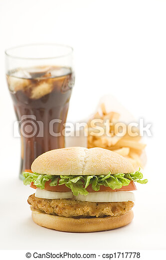 crisp chicken burger with tomato onion cheese lettuce - csp1717778