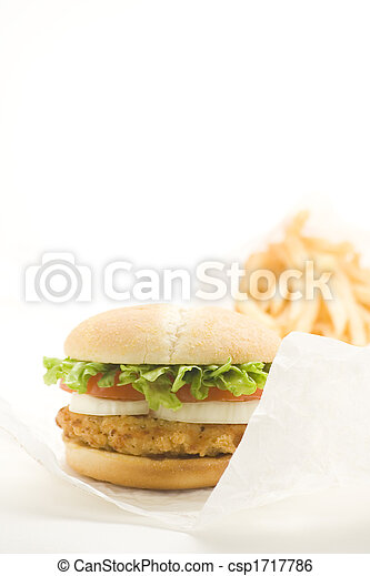 crisp chicken burger with tomato onion cheese lettuce - csp1717786