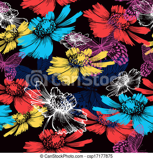 Seamless pattern with abstract colorful flowers and butterflies. Vector illustration. - csp17177875