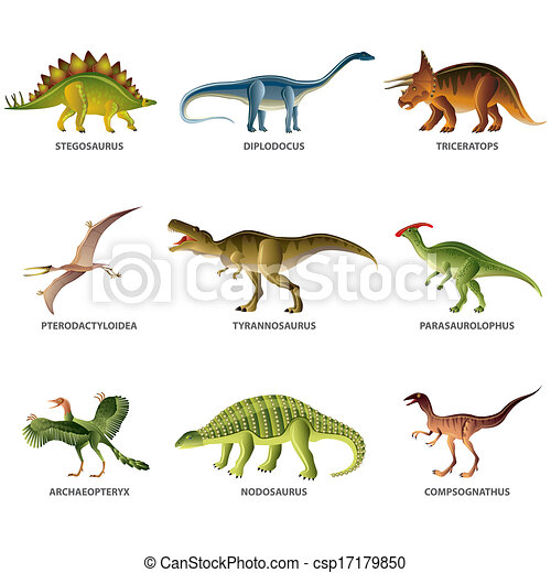 Dinosaurs isolated on white vector set - csp17179850