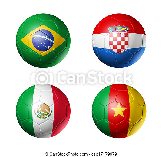 Brazil world cup 2014 group A flags on soccer balls - csp17179979