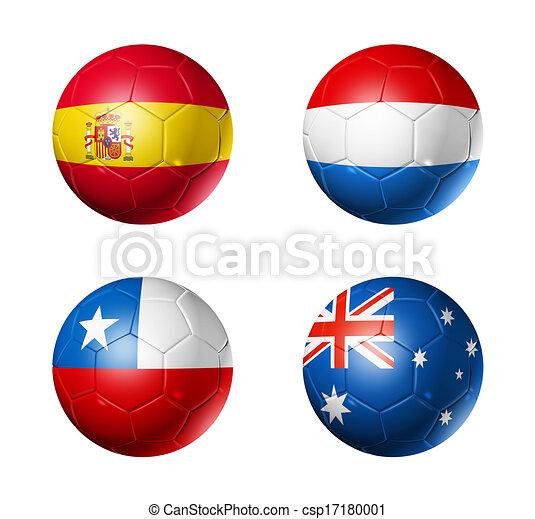 Brazil world cup 2014 group B flags on soccer balls - csp17180001