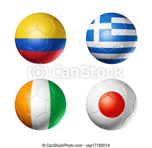 Brazil world cup 2014 group C flags on soccer balls - csp17180014