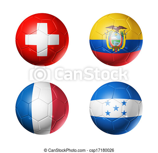 Brazil world cup 2014 group E flags on soccer balls - csp17180026
