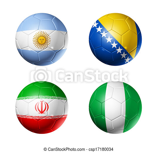 Brazil world cup 2014 group F flags on soccer balls - csp17180034