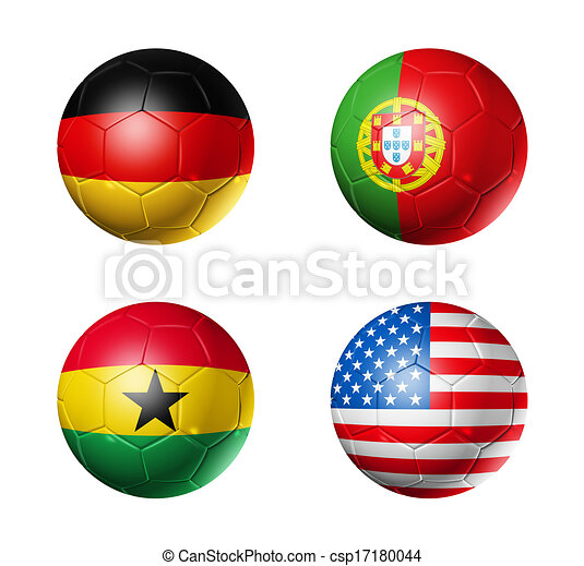 Brazil world cup 2014 group G flags on soccer balls - csp17180044