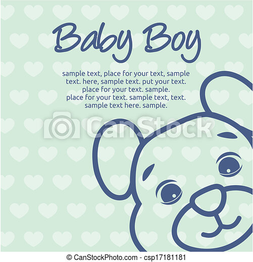 Vector Clipart of baby boy announcement card with baby and pram ...