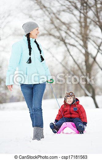 Mother with child boy son at winter - csp17181563