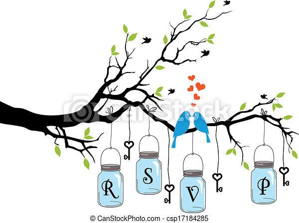 birds on tree with jars, vector - csp17184285